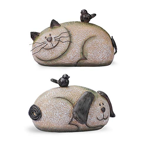 Giftchy Dog & Cat Garden Figurine Set of 2  Whimsical Pets Decorations for Outside  Resin Animals Outdoor Statues  Spring Decor for Home  9.125  L