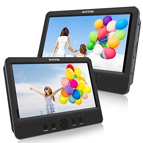 WONNIE 2021 - Reproductor de DVD portátil para coche con 2 pantallas para niños y vídeo con reposacabezas de 10,5 pulgadas, compatible con USB SD MMC 5 horas para un viaje largo (reproductor de DVD)