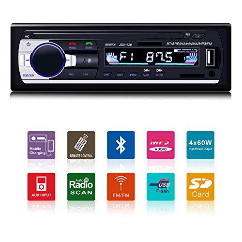 Fixget Car Radio with Bluetooth, In-Dash Single Din Car Stereo, Car MP3 MP5 Player USB/SD/AUX/FM with Wireless Remote Control (Black)