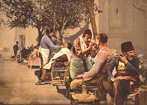 World of Art Global Vintage Friseurladen EIN STRAßENRAND Barber, Constantinople, AUS DER TÜRKEI IM Jahr 1895. 250 g/m², glänzend, Kunstdruck, A3, Reproduktion