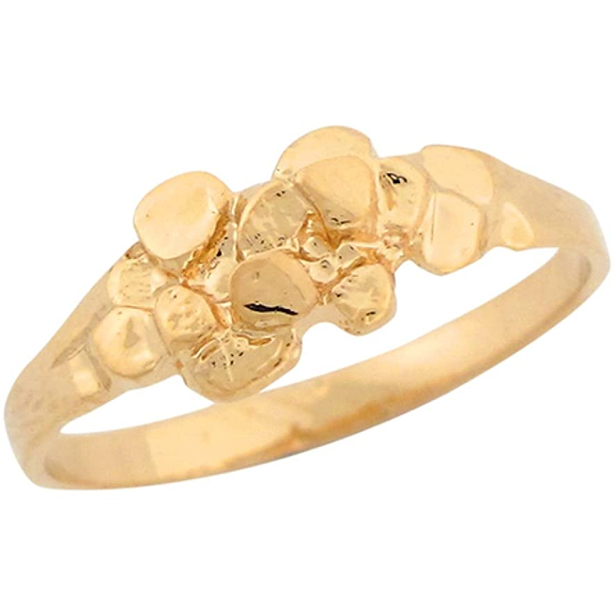 Jewelry Liquidation 10k Real Yellow Gold Small Dainty Nugget Cute Ladies Ring