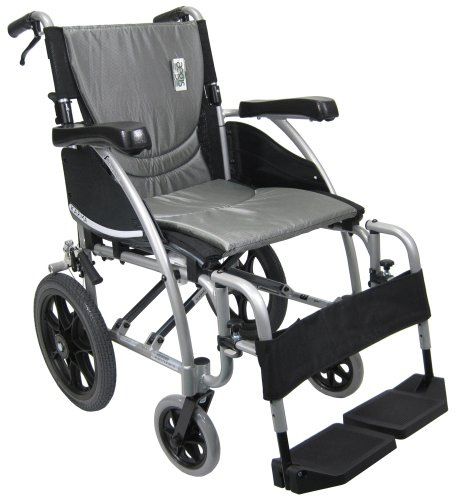 Karman Transport Wheelchair with Companion Brakes, 18' Seat and 14' Rear Wheels, Silver Frame