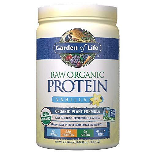 Garden of Life Raw Organic Protein Vanilla Powder, 20 Servings: Certified Vegan, Gluten Free, Non-GMO, Plant Based Sugar Free Protein Shake with Probiotics & Enzymes, 4g BCAAs, 22g Protein