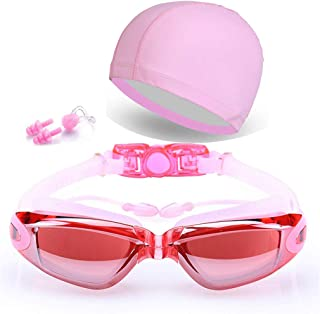 Peacoco Swim Goggles with PU Swim Cap,Swimming Goggles Anti Fog Waterproof for Men Women Adult Youth Kids UV Protection with Earplugs,Nose Clips and Case