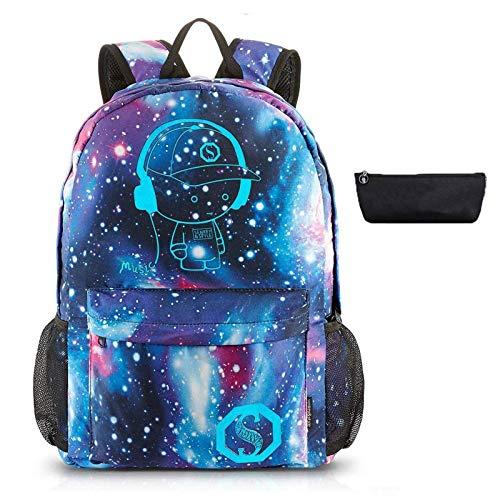 Mochila Luminosa Mochilas Escolares para Adolescentes Unisexo Bolso de Hombro Galaxia Bolsas para Portátiles (A)