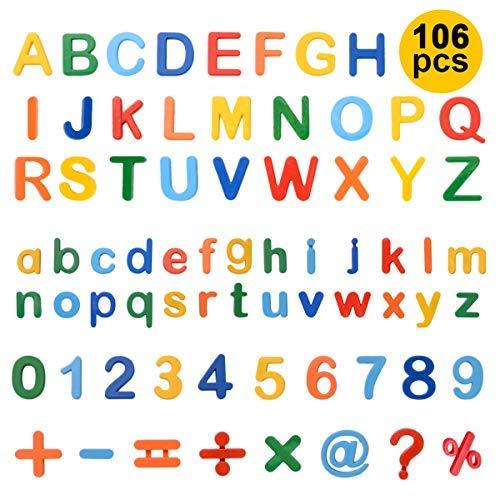 ZITFRI Magnetische Buchstaben und Zahlen für Kinder 106 Stück Alphabet Magnete Nummer Spielzeug Lernspielzeug: 78 Buchstaben, 20 Zahlen und 8 Symbole