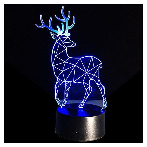 Naliovker Lampara de Ilusion optica 3D Boton tactil de cambio de 7 colores LED Luz de noche Reno de Navidad Negro +...