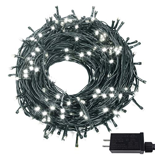 OZS-82FT 200 LED Super Bright Extendable Christmas String Lights Indoor/Outdoor, Waterproof 8Modes (UL Certified) Green Wire Fairy Starry String Lights for Xmas Tree Garden Decor(Cool White)