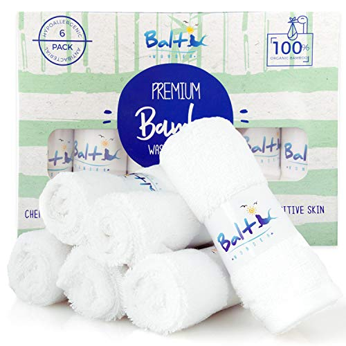 Baby Washcloths - Organic Bamboo With A Soft Cotton blend. Towel, Ultra Soft and Absorbent, Natural Reusable Wipes Perfect for Sensitive Skin and Newborn Bath, Ideal Baby Registry and Baby Shower Gift