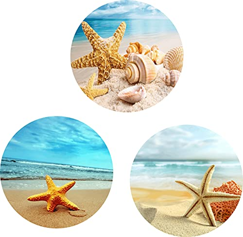 (3 Pack) Cell Phone Holder Sea Beach with Starfish and Shells Expanding Grip Stand Finger Kickstand for Smartphone and Tablets