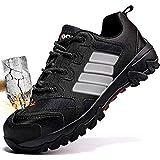 Zapatos de Seguridad para Hombre con Puntera de Acero Zapatillas de Seguridad Trabajo, Calzado de Industrial y Deportiva(B Negro,44 EU)