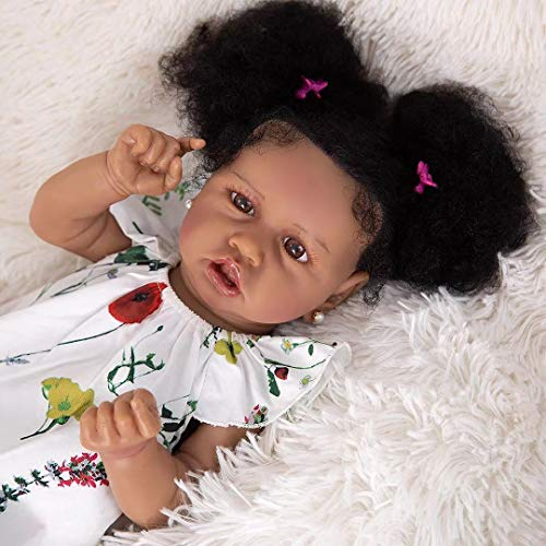 Meacety Full Silicone African American Reborn Baby Dolls with Realistic 22.8 inches Girl Doll Weighted Newborn Dolls...