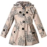 Long Sleeves Vintage Floral Print Chino Cotton Hooded Hoodie Trench Coat Outerwear Windbreaker for Little Girls & Big Girls, A-Flower Khaki, Age 5T-6T (5-6 Years) = Tag 130