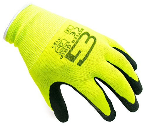 Better Grip BGFL1-9L Polyester Foam Latex Coated Work Gloves, 4 Pairs/Pack (Large, Fluorescent Yellow)