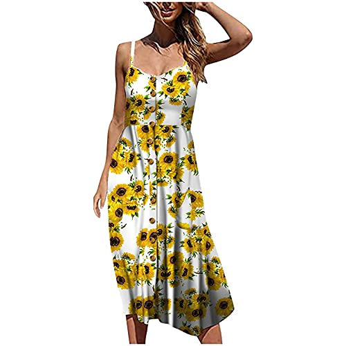 Eduavar Dresses with Pockets for Women Plus Size Women's Floral V Neck Spaghetti Strap Button Down Sundress Swing Ruffle Summer Mini Short Dress White