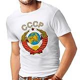 lepni.me Camisetas Hombre СССР URSS Unión Soviética Bandera de Rusia y Himno (Large Blanco Multicolor)