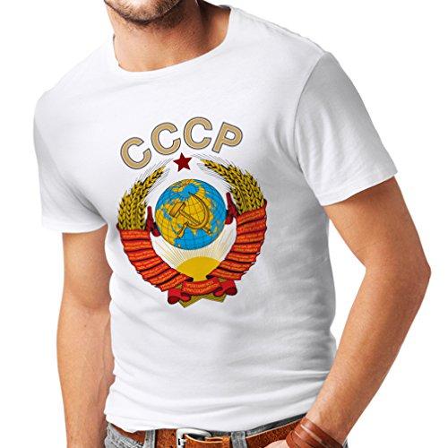 lepni.me Camisetas Hombre СССР URSS Unión Soviética Bandera de Rusia y Himno (XXX-Large Blanco Multicolor)