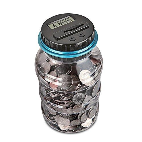 AOZBZ Digitale Salvadanaio Euro Counter, Automatico Coin Counting Soldi Scatola per i Bambini e Adulti, Sicuro Moneta Risparmio Contanti con Display LCD e Grande capacità(1,8L)