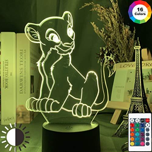 Le Roi Lion Simba Figure 3D Illusion Bébé Veilleuse LED Capteur Tactile Couleur Changeante Veilleuse pour Enfant Chambre Lampe de Table