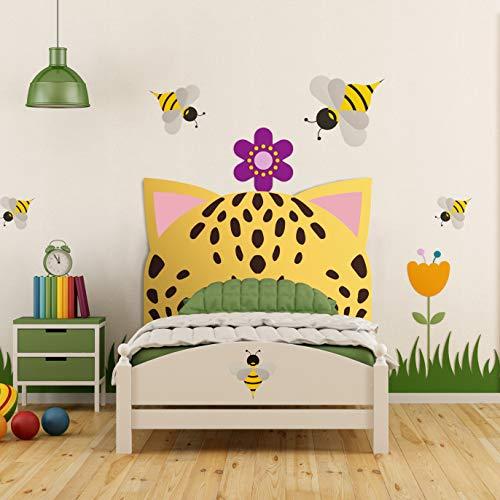 Megadecor Cabecero Cama PVC Decorativo Económico Diseño Infantil Orejas de Leopardo 100 x 100 cm.