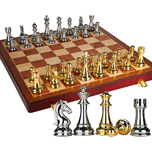 Yxxc Strategy Game Chess High-End Chess Set Three-Dimensional Chess Oversized Chess Pieces European Retro Folding Wooden Chess Board Chess Board (Size : 20