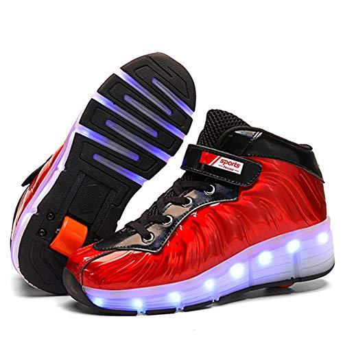 HOAPL Niños Niñas Zapatos de Patinaje sobre Ruedas LED Zapatos Iluminados Zapatillas Luminosas de Doble Rueda Zapatillas Técnicas de Skate Zapatillas para Niños los Mejores Regalos,Red 1,40