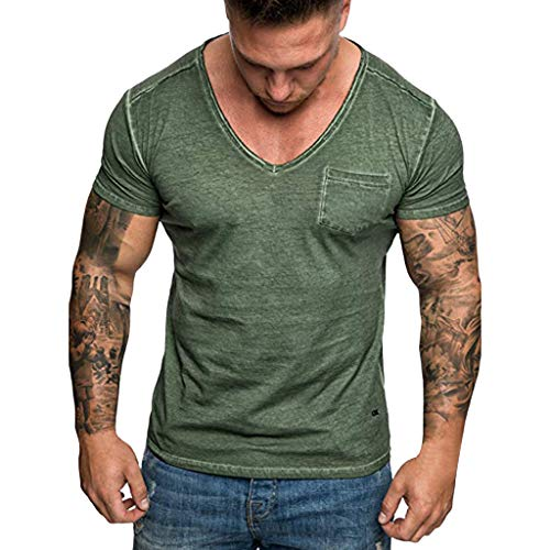 PowerFul-LOT T-Shirt - uni - Col V - Manches Courtes - Hommes Tee Slim Fit V Cou Poche Manches Courtes T-Shirt Muscle en Coton Casual Tops Chemisier T-Shirt Homme