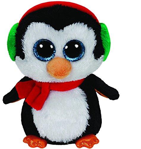 TY 41125 41125-North-Pinguin mit Schal und Glitzeraugen, Beanie Boo's, X-Mas, 15 cm