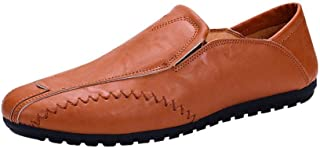 FORUU Men Solid Color Round Toe Sewing Flat Heel Shallow Mouth Leather Shoes