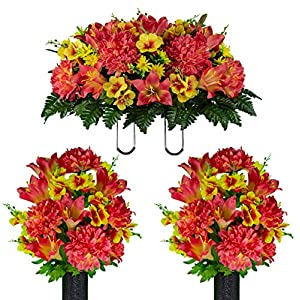Sympathy Silks Artificial Cemetery Flowers – Realistic – Outdoor Grave Decorations – Non-Bleed Colors, and Easy Fit – 2 Starburst Orange Lily & Dahlia Bouquets & Matching Saddle for Headstone
