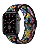 AMANECER Stretchable Nylon Watch Bands Compatible with Apple Watch Series 6/5/4/3/2/1 SE, Adjustable Braided Pattern Sport Loop Bands for iWatch Women Men (Boho/Bohemian Rainbow, 38/40MM)