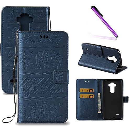 LG G Stylo Case,LG G4 Stylus Case,LEECOCO Fancy Embossed Wallet Case with Card/Cash Slots [Kickstand] Shockproof PU Leather Flip Case Cover for LG G Stylo / G4 Stylus LS770 Elephant Blue