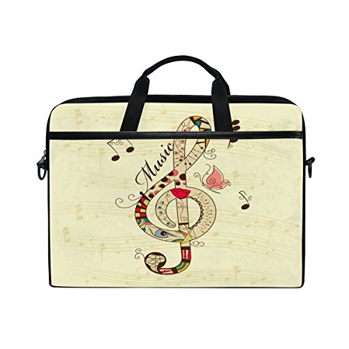 Laptop Case, Music Vintage Personalised Printed with 3 Compartment Shoulder Strap Handle Canvas Notebook Computer Bag Perfect for Boys Girls Women Men 13 13.3 14 15 inch