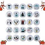 abbx 24 Botones de Calendario de Adviento,Navidad Chapas Número,Calendario de Adviento con Números,Navidad Decoración,Broches Navidad (D)