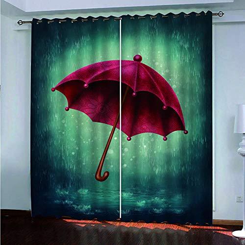 Muxiand Verduisteringsgordijnen, rode paraplu op groene achtergrond, gordijnen, verduisteringsgordijn, oogjes, ondoorzichtig, black-out kinderkamer, gordijnen met ogen, 3D HD