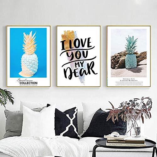 YIBINGLI Pintura de la Lona Arte de la Pared Fruta Azul Piña Letra Negra Impresión Cartel Imagen Decoraciónativa Sala de Estar Decoraciónación del hogar 40x60cmx3 Sin Marco