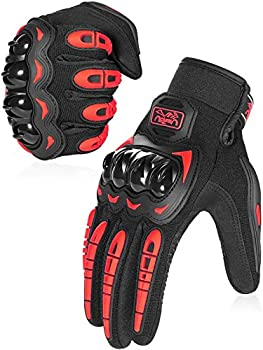 COFIT Motorcycle Gloves for Men and Women Full Finger Touchscreen Motorbike Gloves for BMX ATV MTB Riding Road Racing Cycling Climbing - Red L