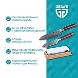 GRÄWE Santokumesser Messerset - 2er Pack, Damastmesser mit Holzgriff, 12 cm & 17 cm Klinge im Set inkl. Wetzstein 400/1000 - 4