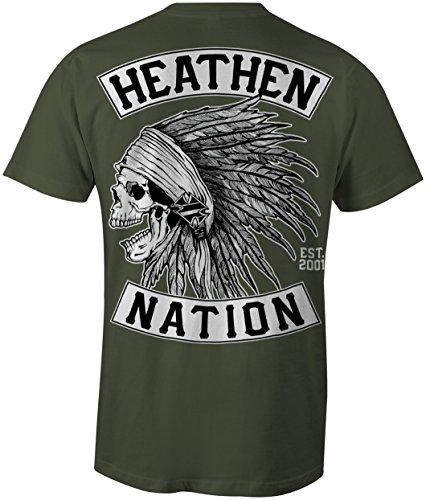 Heathen Military Green Chief T-Shirt (Medium)