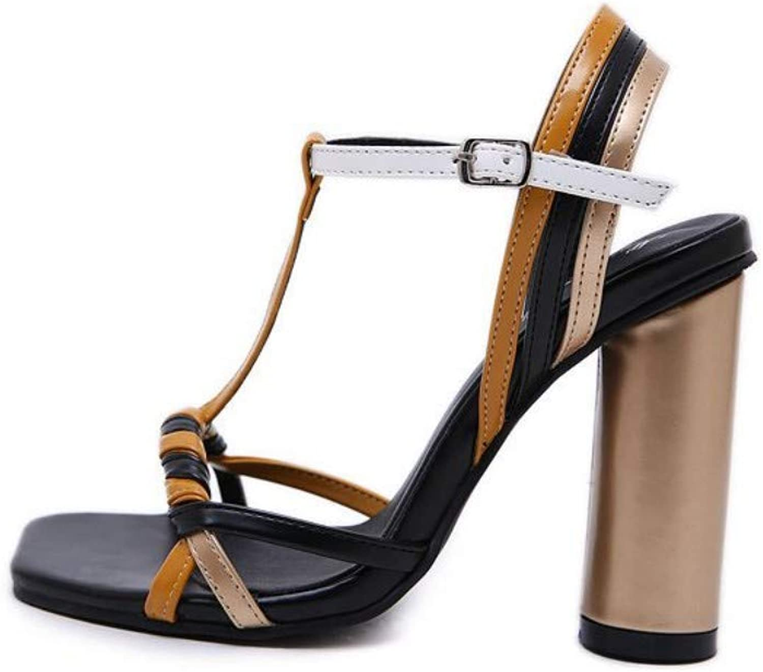 JQfashion Women's High-Heeled shoes Rough-Heeled Square-Headed High-Heeled Sandals Coloured Roman shoes