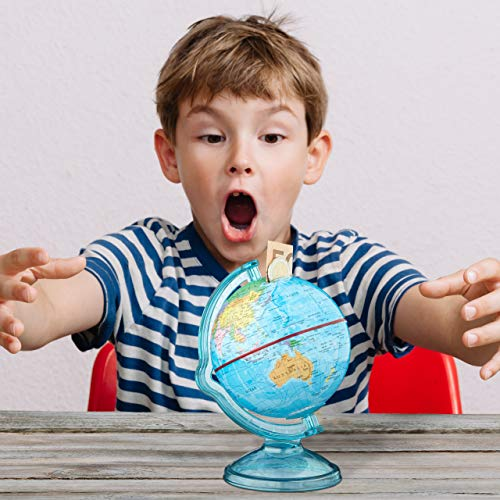 Relaxdays Spardose Globus HxBxT: 16,5 x 14 x 14 cm, politische Weltkarte, englische Beschriftung, Weltkugel, bunt - 5