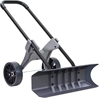 Power Dynamics 30 Inch SnoDozer Rolling Snow Shovel on Wheels - Made in USA Foldable for Easy Storage Ergonomic Snow Removal Plow with Heavy Duty Tires