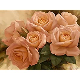 Impression-sur-TOILE-entoilé+CAISSE-américaine-Levashov-Igor-Pêche-Rose-Splendeur-I-Floral-Tableaux-sur-toile-100%coton…