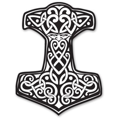 Thor's Hammer Viking Norse Ornament Vinyl Sticker - Car Phone Helmet Bumper Sticker Decal
