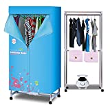 Electric Clothes Dryer Portable Drying Rack Heater,1010w Folding Warm Air Drying Wardrobe 2-Tier Indoor Fast Air Dry Hot Drying Machine Automatic Timer