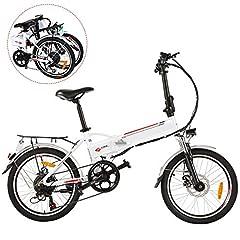 BIKFUN vélo électrique, 20/26 pouces vélo électrique, batterie au lithium (20 pliable-blanc)