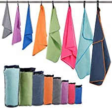 """HOEAAS 2 Pack Microfiber Travel & Sports & Beach Towel-S (32""""x16""""x2)-Lightweight, Compact, Super Absorbent, Fast Dry for Outdoor, Yoga, Camping, Gym+ Buckled Carry Bag(S, Hot Pink)"""