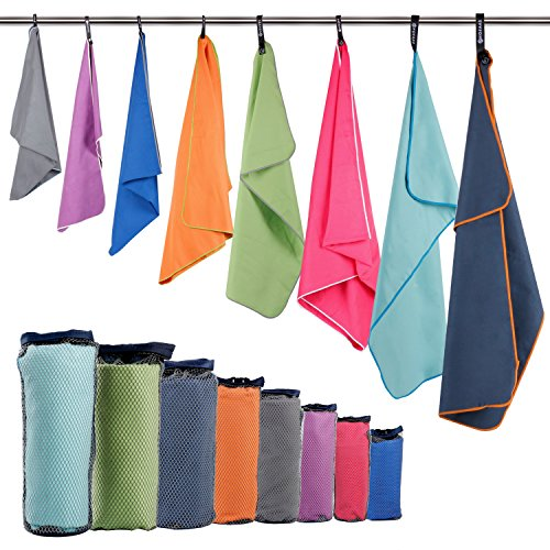 "HOEAAS 2 Pack Microfiber Travel & Sports & Beach Towel-S (32""x16""x2)-Lightweight, Compact, Super Absorbent, Fast Dry for Outdoor, Yoga, Camping, Gym+ Buckled Carry Bag(S, Hot Pink)"
