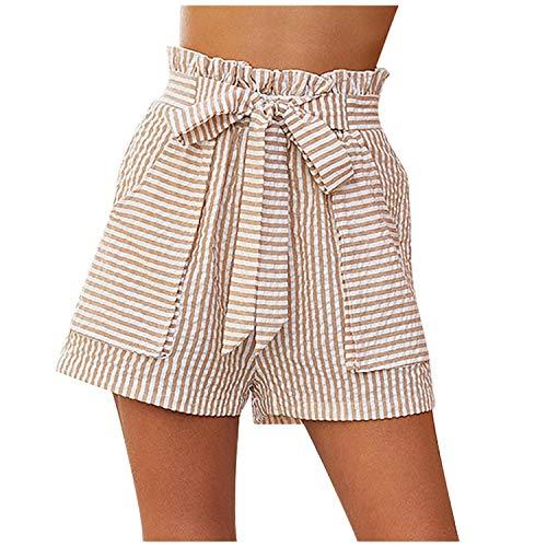Pantalones cortos EMP-Wang Mujer Casual Mujer Rayas Estampado Cintura Alta Mujeres Suelto Verano Vendaje Cinturón Feminino