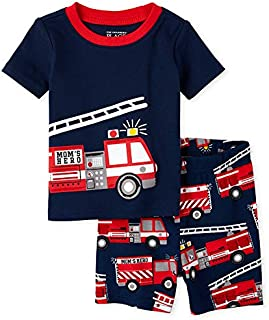 The Children's Place Baby Boys' Fire Truck Snug Fit Cotton Two-Piece Pajamas, Thunder Blue